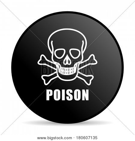 Poison skull black color web design round internet icon on white background.