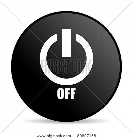 Power off black color web design round internet icon on white background.