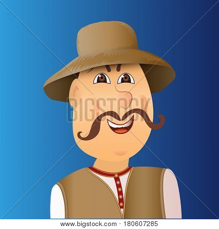 People avatar cossack with forelock mustache. Man in waistcoat hat. Vector illustration.