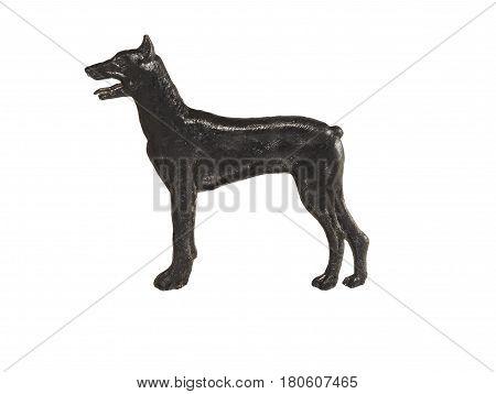 Black dog figure on white background, Doberman Pinscher.