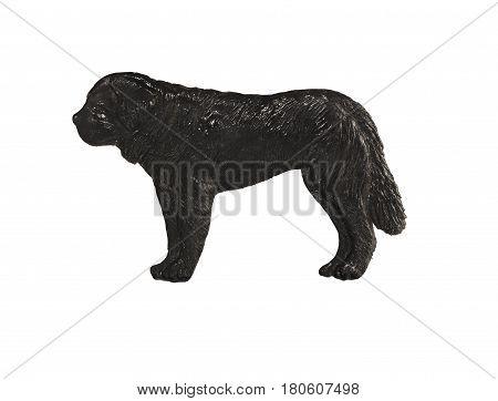 Black dog figure on white background, St. Bernard