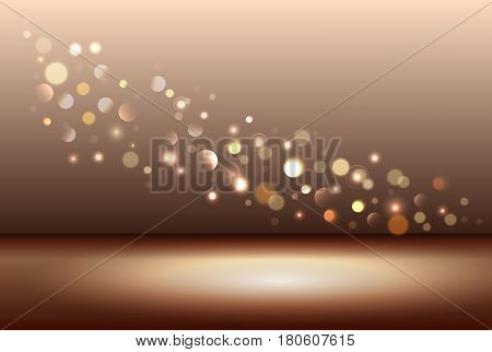 Gold shiny sparkle bokeh background and light plase. Vector illustration stock vector.