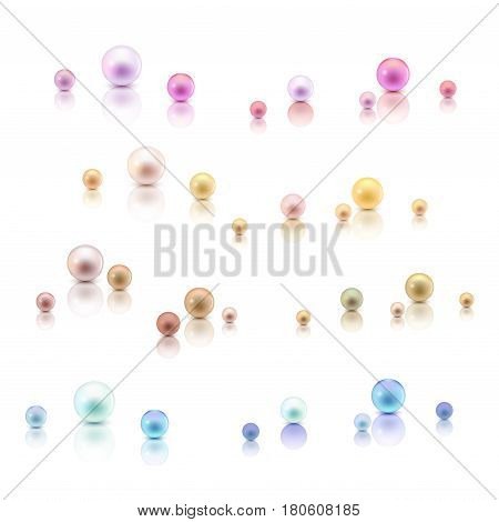 Realistic pearls with reflection. Set gold, white, peach, pink, green, blue isolated on a white background. Vector illustration stock vector.