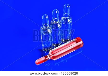 Ampoules for injections. Glass ampoules. Isolate. Color background