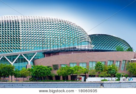 Twin '' Durian '' Convention centre in Singapore. Venue for famous plays and arts performances located at the Singapore river.