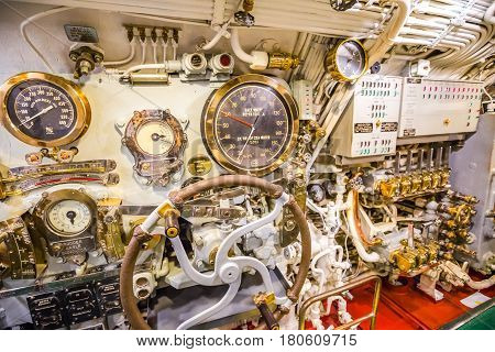 HONOLULU, OAHU, HAWAII, USA - AUGUST 21, 2016: machine room detail of USS Bowfin Submarine SS-287 at Pearl Harbor. Historic Landmark of the Japanese attack in WW II.