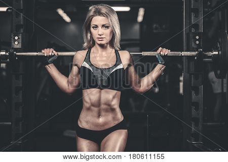 Girl Execute Exercise With Barbell