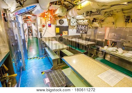 HONOLULU, OAHU, HAWAII, USA - AUGUST 21, 2016: kitchen and dining room of USS Bowfin Submarine SS-287 at Pearl Harbor. Historic Landmark of the Japanese attack in WW II.