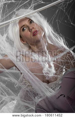 Symphony, Violinist with white violin, beautiful girl with silver hair and lace clothes