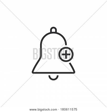 Bell With Plus Sign, Add Alarm Line Icon, Outline Vector Logo Illustration, Linear Pictogram Isolate