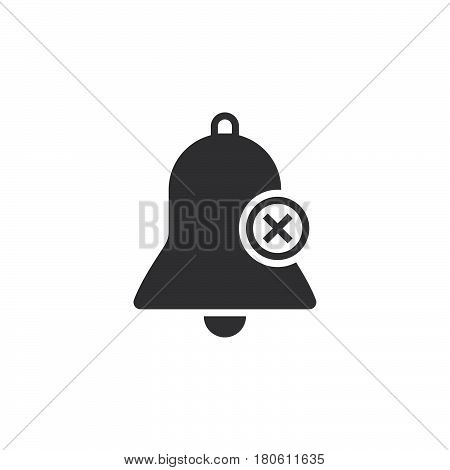 Bell With X Sign, Delete Alarm Icon Vector, Solid Logo Illustration, Pictogram Isolated On White