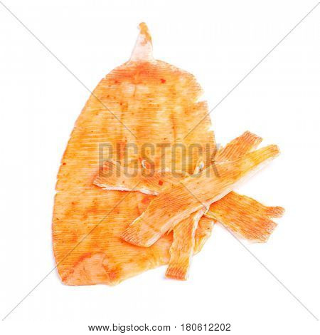 Cooked squid isolated on white
