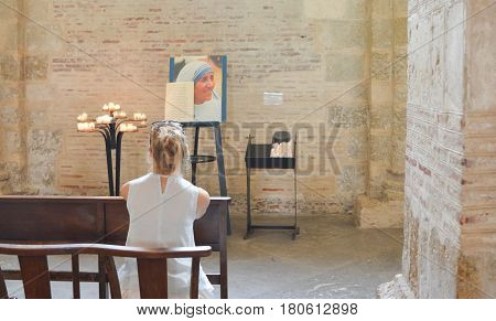 TOULOUSE, FRANCE - JULY 23, 2016:Catholic Church with a portrait of Mother Teresa in Toulouse, France.