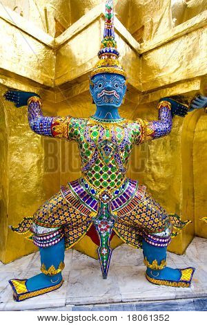 Mythological figure of the indian epic ramayana, the demon guardian, guarding the buddhist temple in the grand palace, Bangkok
