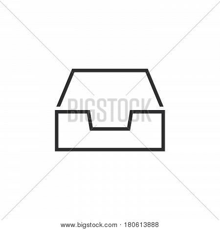 Inbox Line Icon, Box Outline Vector Logo Illustration, Linear Pictogram Isolated On White