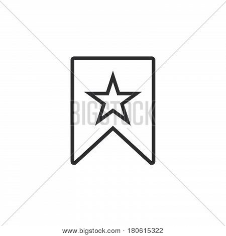 Bookmark With Star Line Icon, Outline Vector Logo Illustration, Linear Pictogram Isolated On White