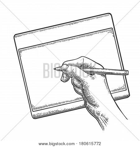 Hand writes or draws on the tablet stylus. Vector black vintage engraving illustration for poster label banner web. Isolated on white background