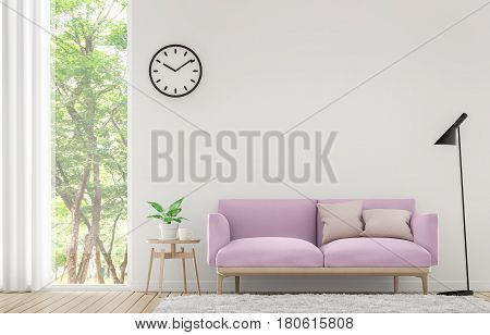 modern white living room with pastel furniture 3d rendering imagethere are window overlooking the - Pastel Furniture