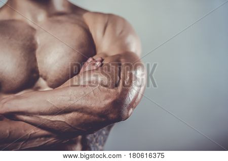 Brutal Caucasian Handsome Fitness Men On Diet Training Chest Pumping