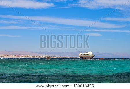 The wreck on the coral reefs in red sea