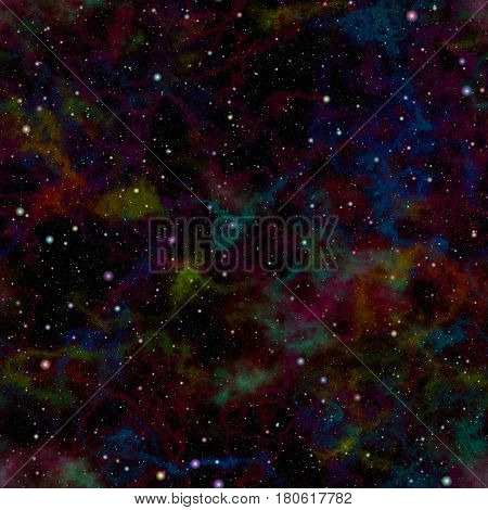 Abstract dark colorful universe, Rainbow colored nebula night starry sky, Multicolor outer space, Galactic texture background, Seamless illustration