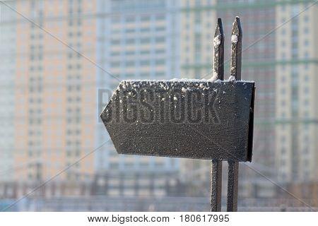 Frozen messageboard with copyspace against winter background