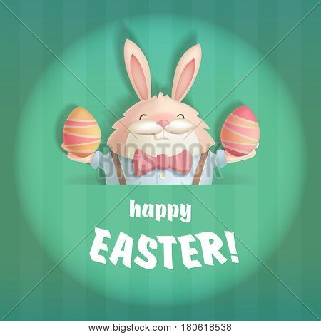 Happy Easter greeting card with a hare and an eggs. The hare is depicted in a round stylized under the light of the stage spotlight.