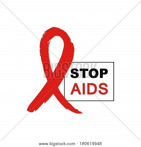 Hand drawn red AIDS HIV ribbon design template with text STOP AIDS day. AIDS Awareness ribbon.