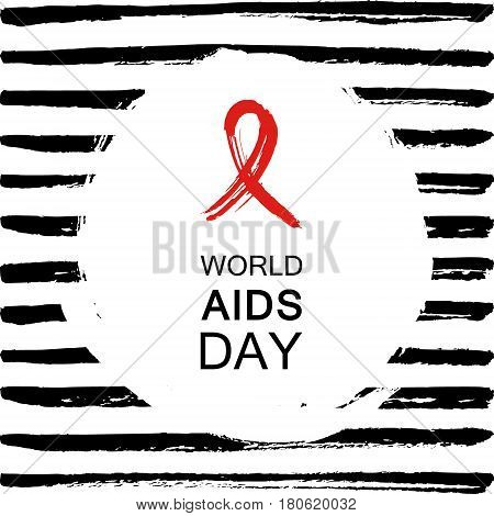 Hand drawn red AIDS HIV ribbon design template with text World AIDS day.