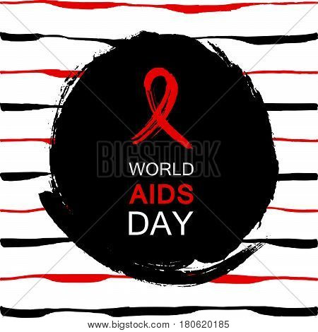 Hand drawn red AIDS HIV ribbon design template with text World AIDS day. World AIDS day. Medical sign. World AIDS Day ribbon for AIDS background. AIDS Awareness ribbon.