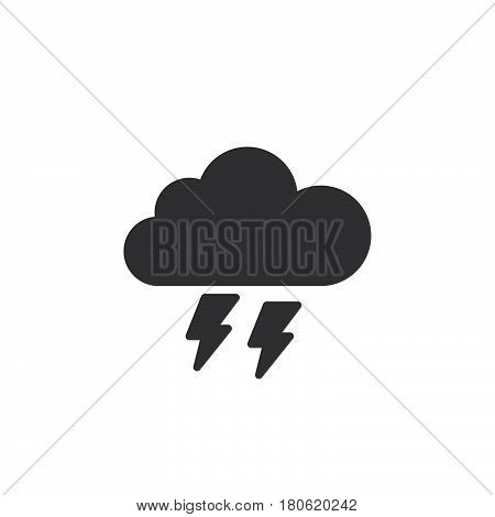 Thunderstorm Icon Vector, Solid Logo Illustration, Pictogram Isolated On White