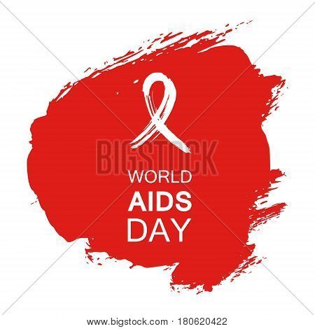 Hand drawn red AIDS HIV ribbon design template with text World AIDS day.  AIDS Awareness ribbon.