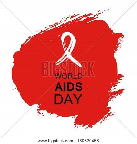 Hand drawn red AIDS HIV ribbon, design template with text World AIDS day.