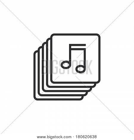 Music Collection Line Icon, Playlist Outline Vector Logo Illustration, Linear Pictogram Isolated On