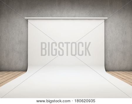 White backdrop on a concrete room background