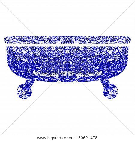 Bathtub grunge textured icon. Flat style with scratched texture. Corroded vector blue rubber seal stamp style. Designed for overlay watermark stamp elements with grainy design.