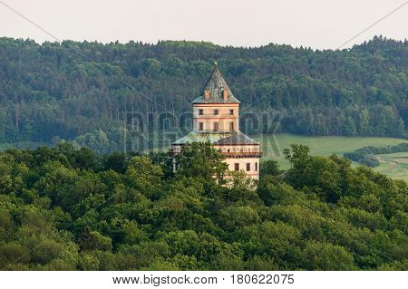 Aerial view of Humprecht Chateau in Bohemia Paradise
