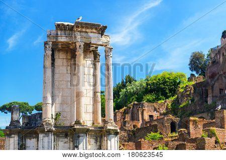 The Temple of Vesta in Roman Forum, Rome, Italy