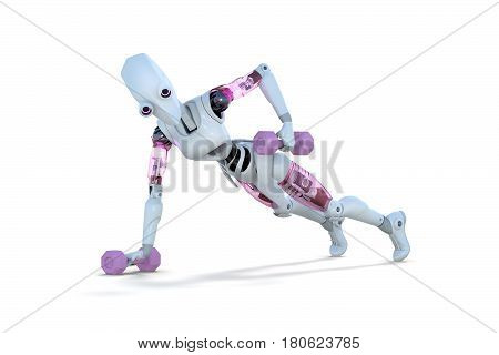 3d render of a female robot doing push ups with dumbbells against a white background.