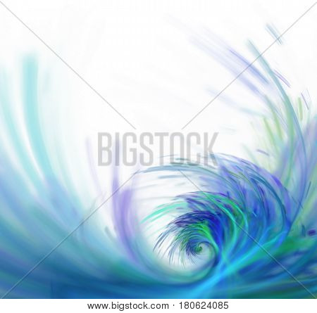 White Abstract Background With Fractal Texture. Purple Big Wave On The Sea Surface. Blue Water Splas