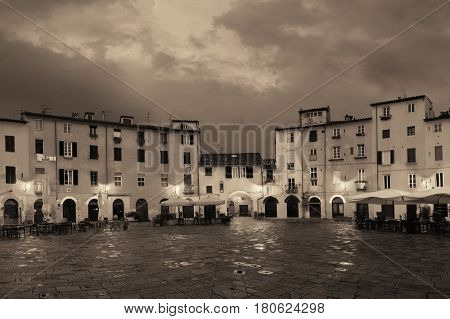 Piazza dell Anfiteatro in Lucca Italy night view