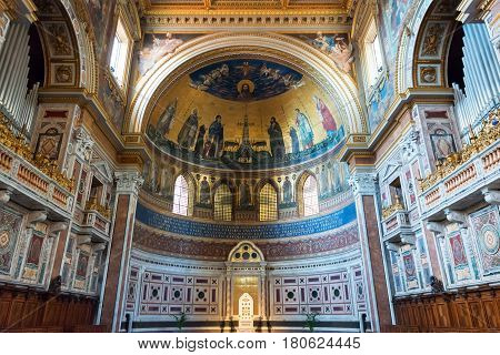 ROME, ITALY - MAY 14, 2014: Interior of the Basilica di San Giovanni in Laterano (Papal Archbasilica of St. John Lateran) with the Papal cathedra.