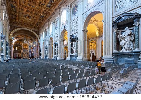 ROME, ITALY - MAY 14. 2014: Interior of the Basilica di San Giovanni in Laterano (Papal Archbasilica of St. John Lateran).This basilica is the most important in the Catholic world.