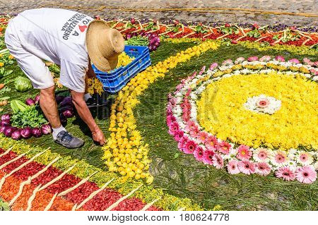 Antigua, Guatemala - March 26 2017: Local makes Lent procession carpet of flowers in colonial town with most famous Holy Week celebrations in Latin America.
