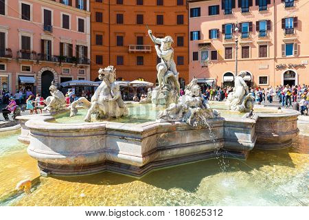 ROME, ITALY - MAY 9, 2014: Fountain of Neptune at the Piazza Navona. Piazza Navona is one of the main tourist attractions of Rome.