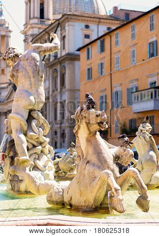Detail of the Fountain of Neptune at the Piazza Navona in Rome, Italy