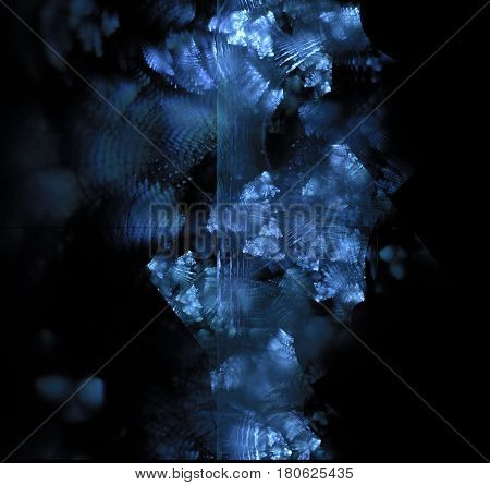 Black Abstract Background With Triangle Fractal Texture. Blue Frost Exploding On Dark Glass. Turquoi