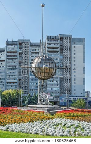 Dnipro Ukraine - September 14 2017: Monument of stainless steel in honor of the missile Production Association Yuzhny Machine-Building Plant