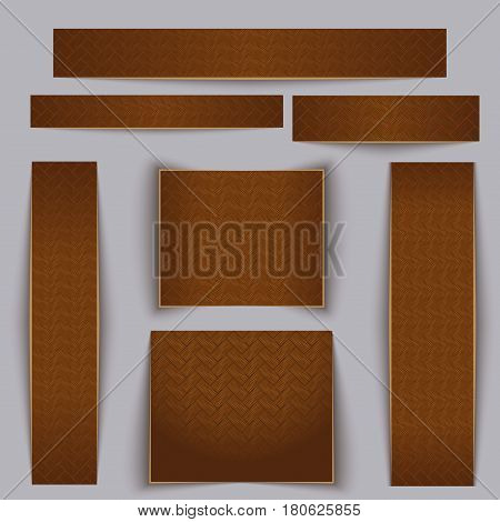Textured banners set. Texture of maple parquet. Vector illustration