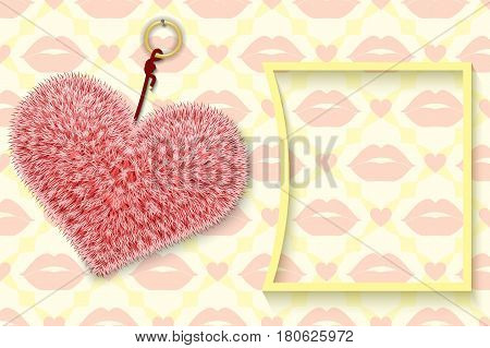 The fluffy heart trinket on the background of the red lips ornament vector illustration.